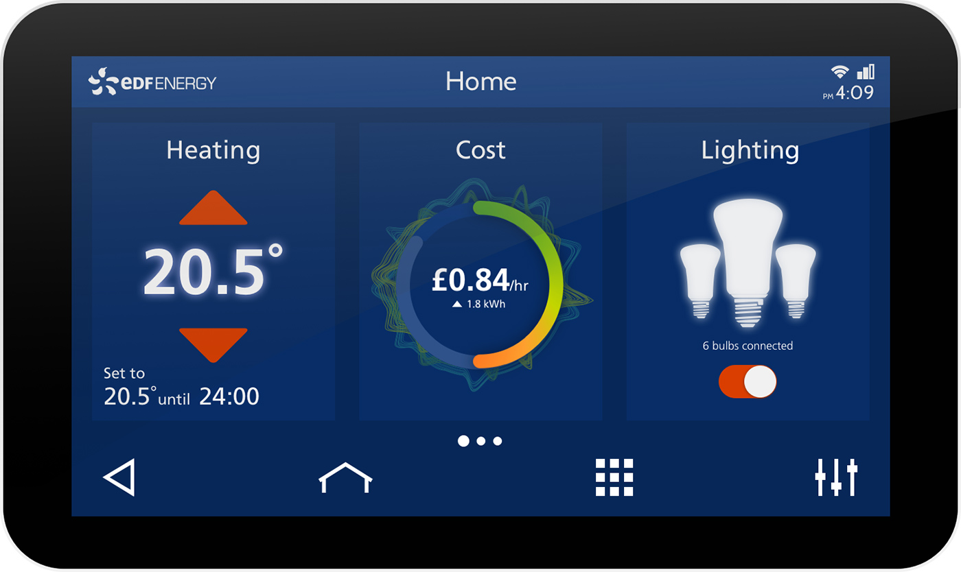 IHD showing a dashboard with various home automation controls.