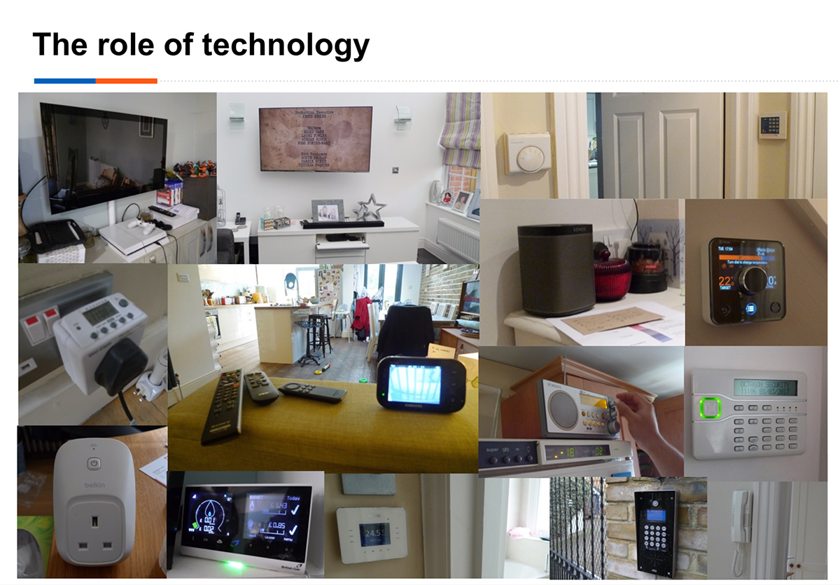 Photo collage of technology in people's homes.