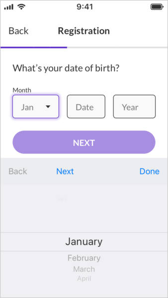 Mixed input date of birth form fields.