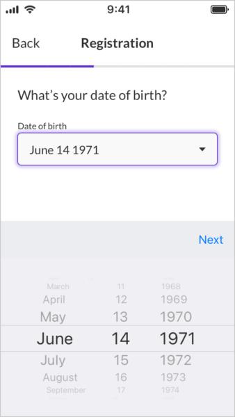 Native iOS date picker UI.