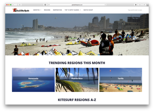 Global Kite Spots' home page.