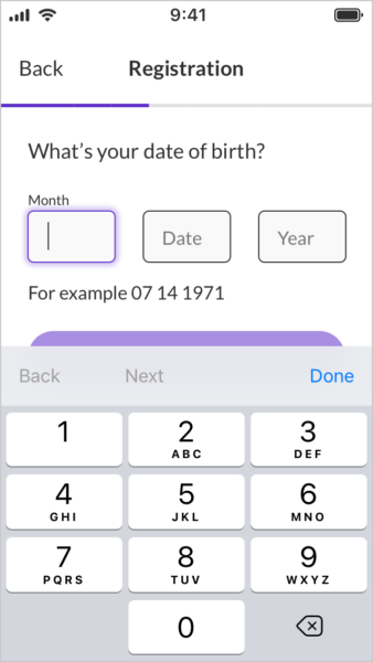 Separate input date of birth form fields
