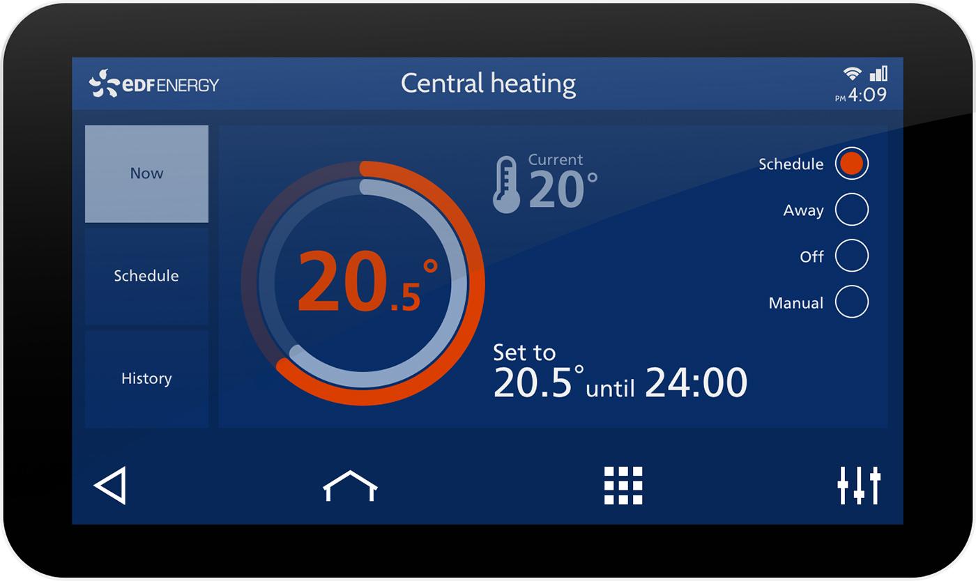 IHD showing heating control